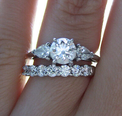 1.90 Ct. Natural Round Cut 3-Stone Diamond Bridal Set GIA Certified & Appraised