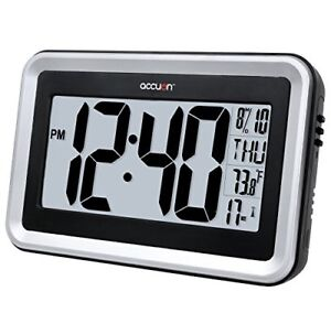 Accuon Large Atomic Radio-controlled Self-setting Digital Wall Clock with Indoo
