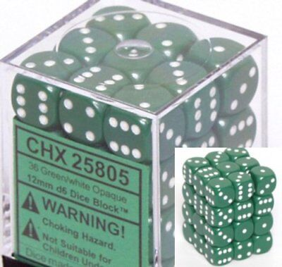 Chessex Opaque 12mm d6 Green w/White Dice Block 36 Dice 36 Opaque 12mm Dice Block
