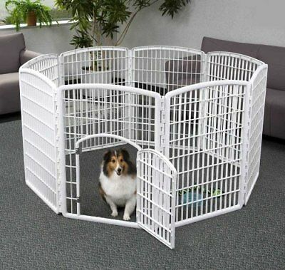 "Pet Exercise Playpen Door 34"" Dog Yard Gate Safe 8-Panel White Fence Enclosure"