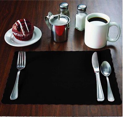 "MH Paper 2000 Black Placemats,Scalloped Edge,10""x14"",Disposal,Ships Free"