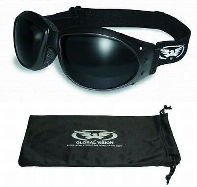 Eliminator Foam Padded Motorcycle Riding Goggles-SUPER DARK LENSES-Sun Glasses ()