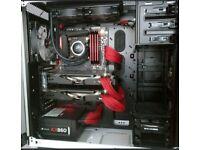 Intel I7 4790K 4.4 Ghz, Corsair Vengence 16 gb DDr3 2133 Mhz, Asus Maximus Hero + Watercooler kit