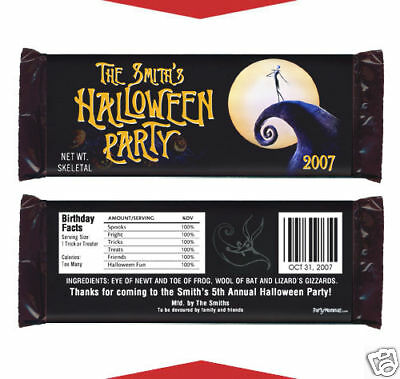 12 Nightmare Before Christmas Party Halloween Favors Personalized Candy Wrappers](Before Halloween Party)