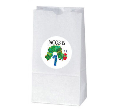 12 The Very Hungry Caterpillar Birthday Party Personalized Treat Bag Stickers (Hungry Caterpillar Baby Shower)