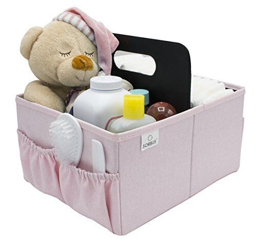 Sorbus Baby Organizer Diaper Caddy with Handle, Luxury Storage (Pink)