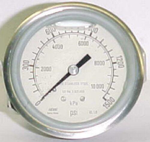 "Haenni 1500 Psi 2-1/2"" Ss Liquid Filled Bourdon Pressure Gauge Dro63-452-233"