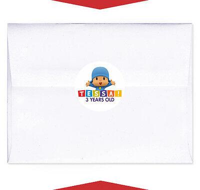 24 Pocoyo Party Favor Birthday Personalized Envelope Stickers - Personalized Envelope Seals