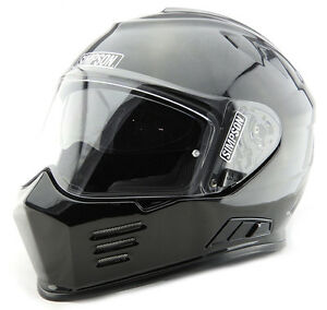 SIMPSON VENOM MOTORCYCLE HELMET GLOSS BLK ECE CERTIFIED UK ROAD LEGAL
