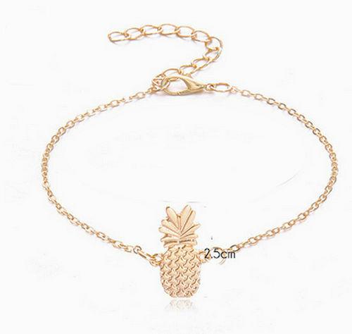 Hawaiian Gold Tone Pineapple Anklet Ankle Bracelet Adjustable