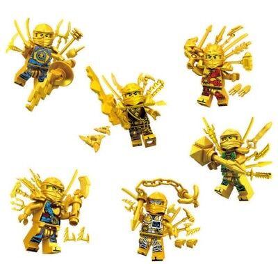 6PCS Gold Ninjago Ninja Super Weapon Mini Figures Building Blocks LEGO Toys