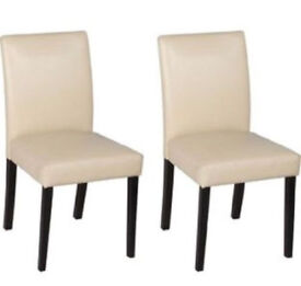 Aston Pair of Cream Leather Effect Chairs - Black Frames