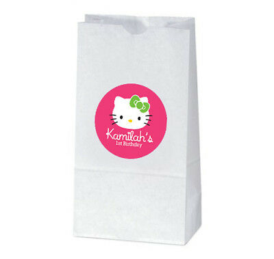 Hello Kitty Goody Bags (12 Hello Kitty Birthday Party Favors Personalized Treat Bag)