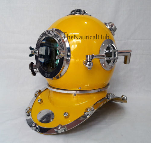 Antique Yellow Diving Helmet US Navy Anchor Engineering Divers Helmet Replica