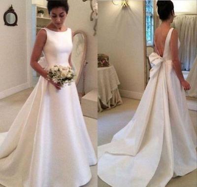 Simple Style Women White Satin Backless Ivory Wedding Dress Bridal Custom Size Simple Style Satin