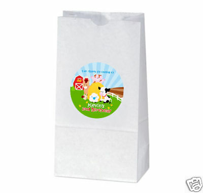 12 Barnyard Farm Animals Birthday Party Personalized Treat Bag - Barnyard Animals Party