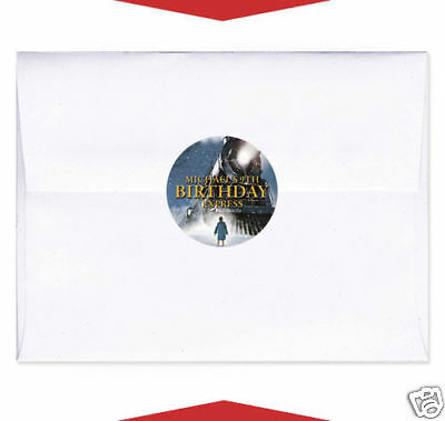24 The Polar Express Movie Birthday Party Favor Personalized Envelope Seals - Polar Express Party Supplies