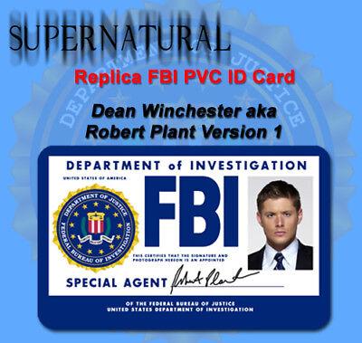 Supernatural Sam or Dean Winchester Replica FBI ID Card or Custom PVC ID Card