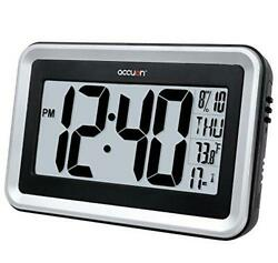 Accuon Large Atomic Radio-controlled Self-setting Digital Wall Clock with Indoor