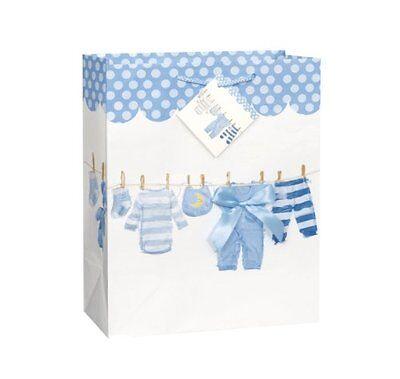 Unique Baby Boy Gift Bag, Blue Bow Clothesline Design, Baby Shower 12.5 x 10.5