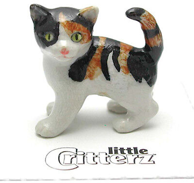 ➸ LITTLE CRITTERZ Cat Miniature Figurine Calico Cat Kitten Holly Miniature Cat Figurine
