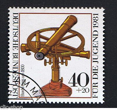 GERMANIA 1 FRANCOBOLLO PRO GIOVENTU STRUMENTI OTTICI CERCHIO 1981 timbrato