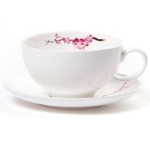 Shamila® Teetasse Cherry Blossom 0,2l Bone China (Tee Tasse mit Unterteller)