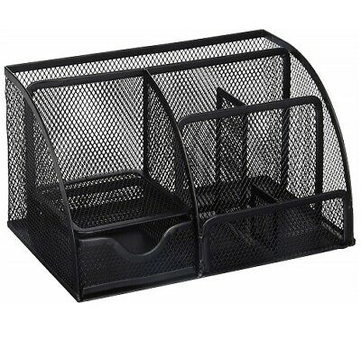 Greenco Mesh Office Supplies Desk Organizer Caddy 6 Compartments Black