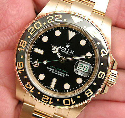 Rolex GMT Master II 116718 Yellow Gold Black Ceramic Bezel 40mm Black Dial Watch