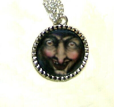HALLOWEEN THE WICKED WITCH HAND CRAFTED ALTERED ART PENDANT NECKLACE SNOW - Halloween Witch Hand Craft
