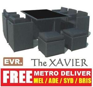 2012 XAVIER 11PCS WICKER OUTDOOR DINING TABLE SETTING