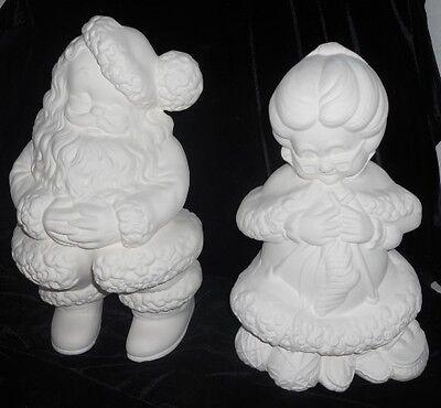 C-0270 Ceramic Bisque Ready to Paint Large Winking Mr. & Mrs. Santa Claus