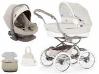 BeBecar Stylo Class Pram in cream leather and lace package