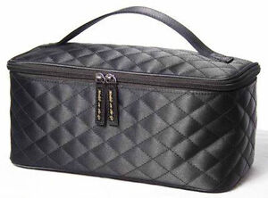 Black Satin Quilted Fabric Black Cosmetic Bag Makeup Bag Beauty and Travel - NEW