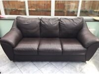3 Seater Brown Leather sofa and chair