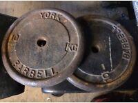 2x 10kg weight discs, dumbbells