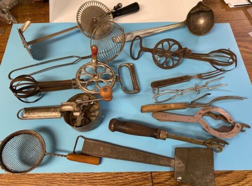 Lot of 13 Vintage Kitchen Utensils - Egg Beaters, Strainers, Kitchen Forks, MORE