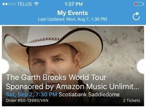 2 Tickets to Garth Brooks World Tour in Calgary on Sept 2 @ 7:30