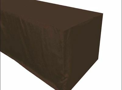 4' ft. Fitted Polyester TABLECLOTH Trade show Booth wedding DJ Table Cover Brown ()