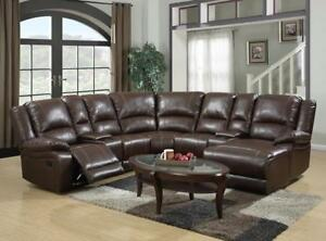 5 PC LEATHER AIR SECTIONAL W/ 2 RECLINERS & LOUNGER$ 1798
