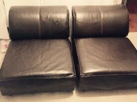Brown Leather Settee ends