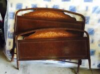 3/4 Antique metal bed and rails approx  47 inch wide no mattress