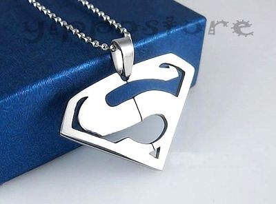 Superman 316L Surgical Stainless Steel Pendant w/ 30