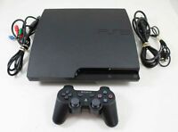 PS3 SLIM WITH 160 GB HARD DRIVE, WIRELESS CONTROLLER AND GAME