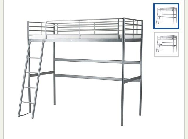 Used ikea tromso single loft bunk bed frame in silver for Single loft bed frame