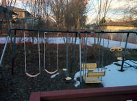 Outdoor swing set with slide, sea saw, gym set for kids
