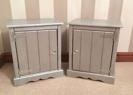 ***Hand Made Pine Silver Shabby Chic Bedside Tables £119/Pair***