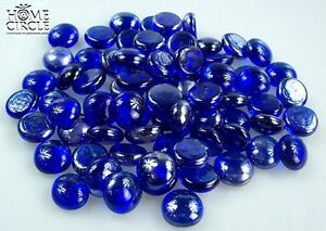 ROYAL BLUE COLOURED GLASS GEMS STONES APPROX 75PCS NUGGETS HOME DECO CANDLES
