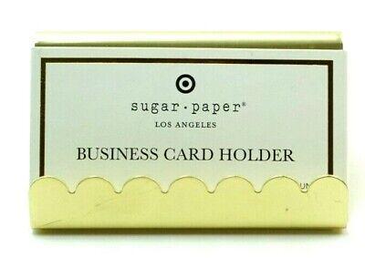 Sugar Paper Business Card Holder Display Stand Gold Metal Desktop Desk Office