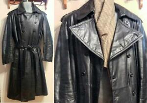 Mens L Black Trench Coat 44 Retro Leather Long TALL Free Scarf NA Shipping VINTAGE Made in Canada Victoria Goth Cowhide